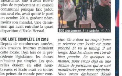 Un article dans le journal La Meuse suite à notre soirée zéro déchet